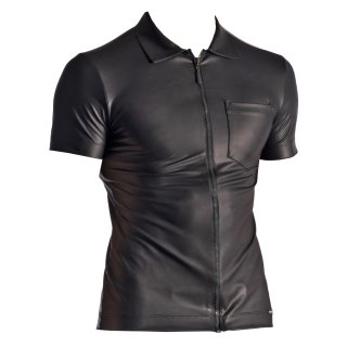 MANSTORE M510 - Zipped Shirt - Latex Imitat Shirt - schwarz