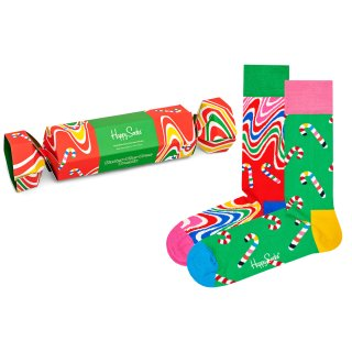 Happy Socks - Psychedelic Candy Cane Gift Box - Socken Geschenk-Box - 2er Pack