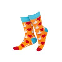 Unabux Socken - GOOSE LOVE - orange Socke mit roten...